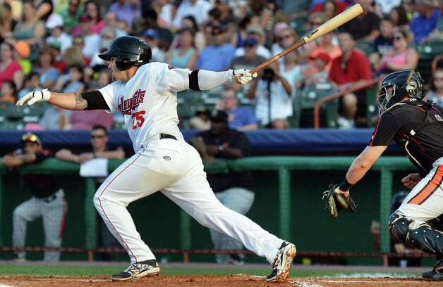 ValleyCats's #25 Bryan Muniz hits an RPI single against the Aberdeen IronBirds at Joe Bruno Stadium Saturday July 18, 2015 in Troy, NY.  (John Carl D'Annibale / Times Union) Photo: John Carl D'Annibale / 00032630A