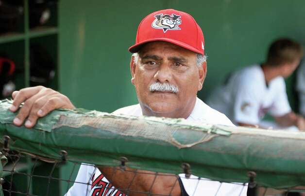 ValleyCats's manager Ed Romero watches from the dugout during Saturday's game against the Aberdeen IronBirds at Joe Bruno Stadium July 18, 2015 in Troy, NY.  (John Carl D'Annibale / Times Union) Photo: John Carl D'Annibale / 00032630A