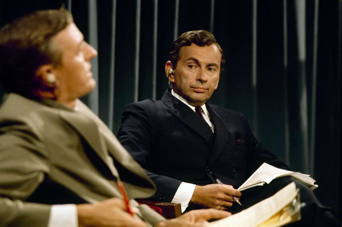 """Best of Enemies 1 L-R: William F. Buckley Jr. and Gore Vidal debate in """"Best of Enemies,"""" a Magnolia Pictures release opening in Bay Area theaters on Friday, August 7. Photo courtesy of Magnolia Pictures. ABC NEWS - ELECTION COVERAGE 1968 - """"Convention Coverage"""" - Airdate in August 1968. (Photo by ABC Photo Archives/ABC via Getty Images) WILLIAM BUCKLEY;GORE VIDAL"""