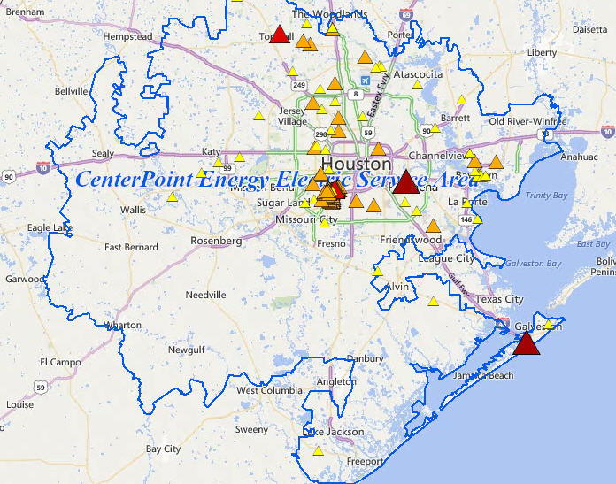 Outage leaves thousands in SW Houston without power ... on bloomington map, center point energy system map, oncor map,