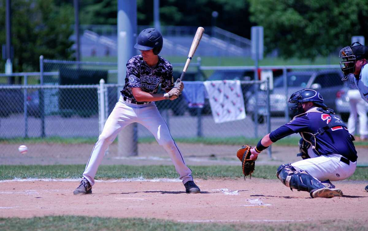 Westport's Daniel Call takes a pitch low during a Senior Legion playoff game on Sunday, July 19 2015 against Trumbull at Trumbull High School, Connecticut. Trumbull defeated Westport 4-3 to advance.