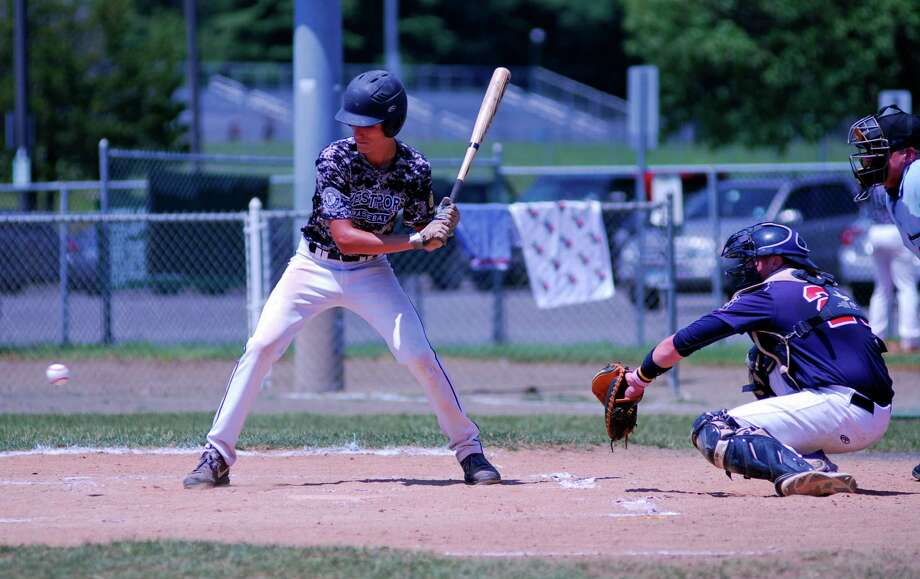 Westport's Daniel Call takes a pitch low during a Senior Legion playoff game on Sunday, July 19 2015 against Trumbull at Trumbull High School, Connecticut. Trumbull defeated Westport 4-3 to advance. Photo: Ryan Lacey/Staff Photo / Westport News Contributed