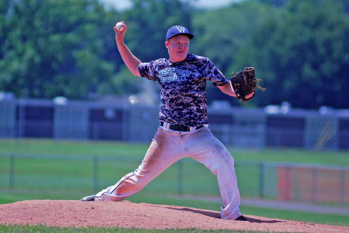 Westport pitcher Danny Ewert fires a pitch during a Senior League playoff game against Trumbull on Sunday, July 19, 2015 at Trumbull High School in Trumbull, Connecticut. Trumbull won 4-3 to advance.
