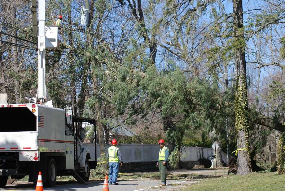 Downed trees and power lines caused abou two-thirds of New Canaanites to lost power over the weekend. Photo: Jeanna Petersen Shepard / New Canaan News