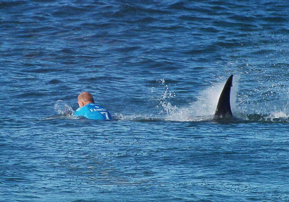 This handout screengrab made and released on July 19, 2015 by the Worl Surf League (WSL) shows Australian surfer Mick Fanning being attacked by a shark during the Final of the JBay surf Open on Sunday July 19, 2015 in Jeffreys Bay. Mick Fanning, 34, was competing in the final heat of a world tour event at Jeffreys Bay in the country's Eastern Cape province when a looming black fin appeared in the water behind him. He fought back against the shark, escaping from the terrifying scene without injury.  Photo: -, AFP / Getty Images