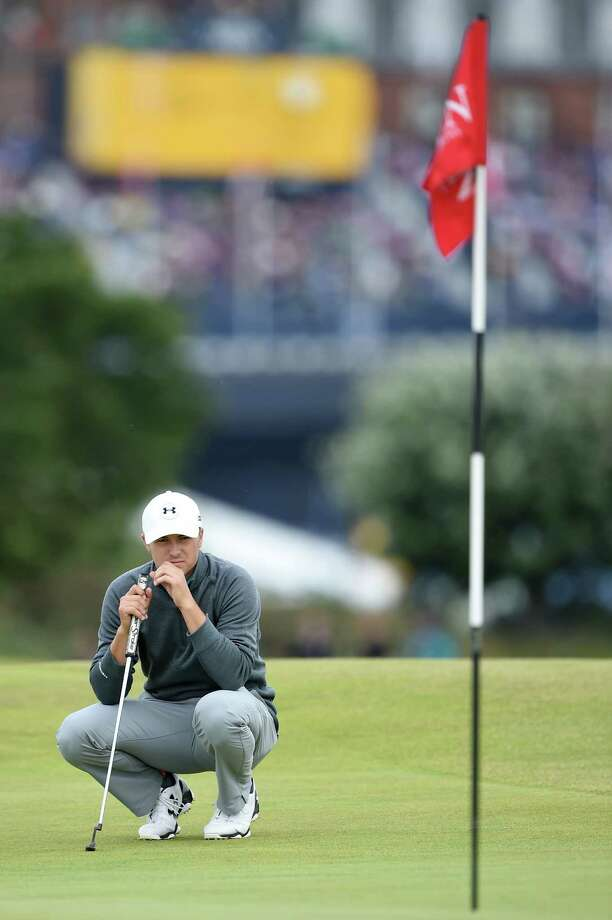 Texas-ex Jordan Spieth lines up a putt on No. 16 en route to a 6-under 66 in the third round at St. Andrews. Photo: Stuart Franklin /Getty Images / 2015 Getty Images