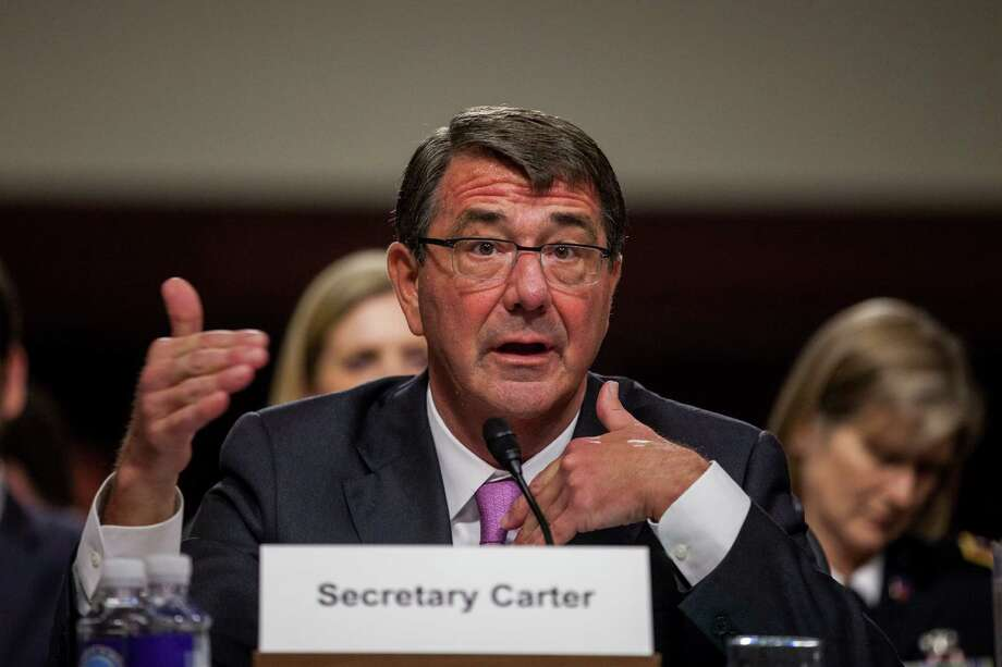 Secretary of Defense Ashton Carter testifies before the Senate Armed Forces Committee about military defense strategies against the Islamic State militant group, on Capitol Hill in Washington, July 7, 2015. (Zach Gibson/The New York Times) Photo: ZACH GIBSON, STF / NYTNS