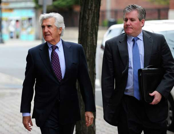 Former New York State Senate leader Joe Bruno, left, and his son, Ken Bruno,  make their way back into the Federal Courthouse following a break for lunch on Tuesday, May 6, 2014, in Albany, N.Y.   (Paul Buckowski / Times Union) Photo: Paul Buckowski / 00026791A