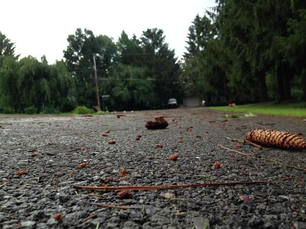 Debris was strewn across area roads during severe weather that blew through Valatie, N.Y., Sunday, July 19, 2015.