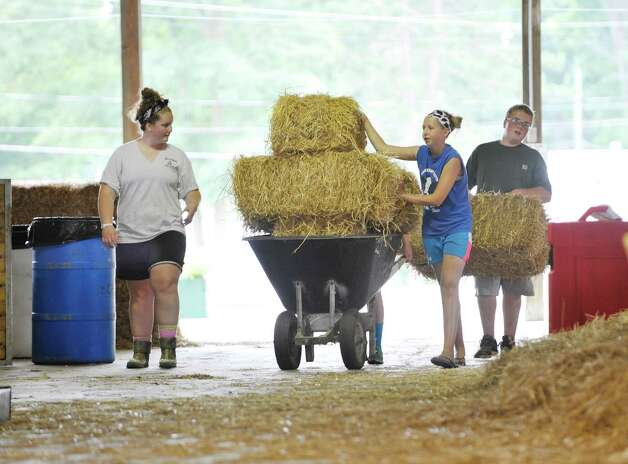 Members of 4-H, from left to right, Kaylah Gulley, 17, Dylan Skiff, 12, (blocked by wheelbarrow) Erin Armitage, 12, and Jordan Gulley, 14, all from Greenwich, bring in straw to use as bedding for their cows as set up continues for the Saratoga County Fair on Sunday, July 19, 2015, in Ballston Spa, N.Y.  The fair opens on Tuesday.     (Paul Buckowski / Times Union) Photo: PAUL BUCKOWSKI / 00032673A