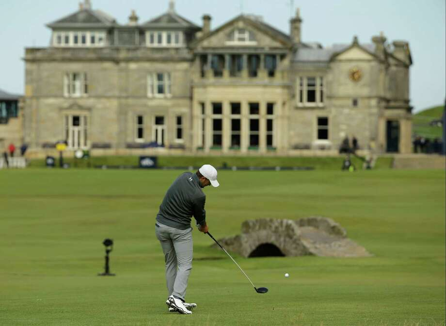 United States' Jordan Spieth drives the ball from the 18th tee during the third round of the British Open Golf Championship at the Old Course, St. Andrews, Scotland, Sunday, July 19, 2015. (AP Photo/David J. Phillip) Photo: David J. Phillip, STF / AP