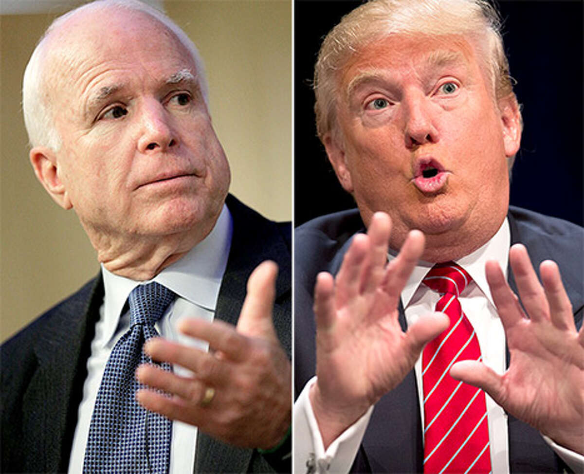 File photo of Republican senator from Arizona John McCaine and President Donald Trump.