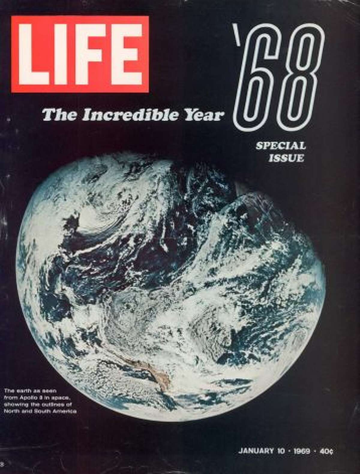 The 1968 Special Issue featuring NASA pic showing Earth from space as seen by the Apollo 8 mission. (Photo by Life Magazine/Life Magazine/Time & Life Pictures/Getty Images)