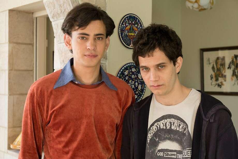 Arab student Eyad (Tawfeek Barhom, left) finds a friend in Jewish boy Yonatan (Michael Moshonov). Photo: Strand Releasing