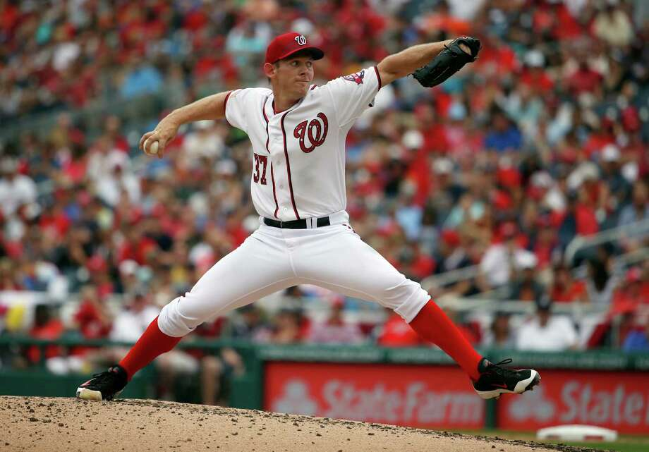 Major League Baseball pitchers rarely throw more than 100 pitches in a game. Stephen Strasburg, 27, stands 6 feet, 4 inches and weighs 230 pounds. He makes $7.4 million a year pitching for the Washington Nationals. Strasburg averages 83 pitches per game. Little League puts an 85-pitch limit per game and requires rest days between pitching appearances for 11- and 12-year-olds. Photo: Alex Brandon, STF / AP