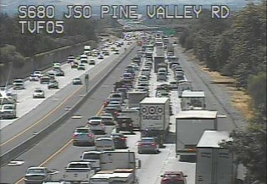 Traffic was corroborated adult on southbound I-680 nearby Pine Valley Road on Monday. Photo: SFGate.com/Traffic