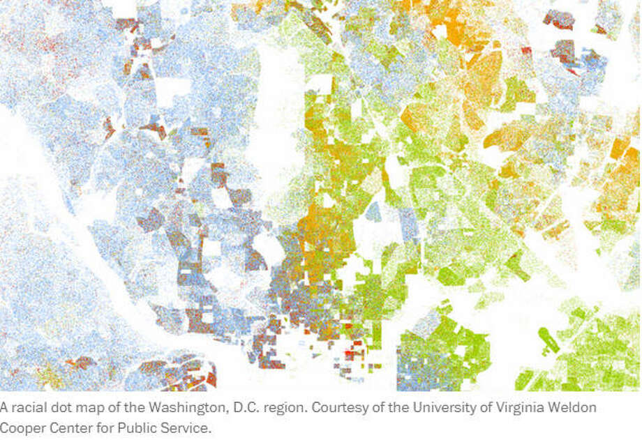 A racial dot map of the Washington, D.C. region. Courtesy of the University of Virginia Weldon Cooper Center for Public Service.