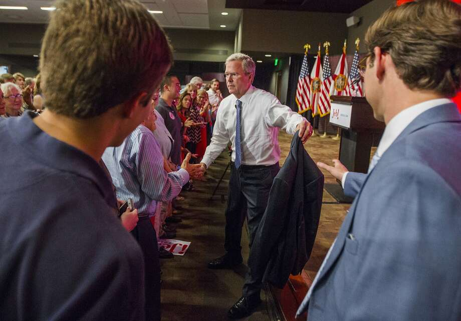 In his speech at Florida State University, Republican presidential candidate Jeb Bush said his policies could reduce the size of the federal workforce by 10 percent in four years. Photo: Mark Wallheiser, Associated Press
