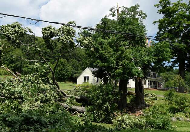 Trees lay across the Wheeler property at 273 Route 23B Monday morning July 20, 2015 after an evening storm with heavy rain and high winds struck the area in Niverville, N.Y.       (Skip Dickstein/Times Union) Photo: SKIP DICKSTEIN