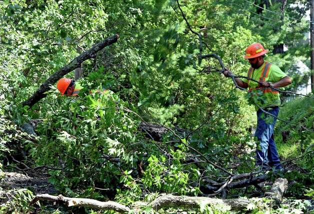 Town of Kinderhook workers remove downed trees on Small Hawley Point Road Monday morning July 20, 2015 after an evening storm with heavy rain and high winds struck the area in Niverville, N.Y.       (Skip Dickstein/Times Union) Photo: SKIP DICKSTEIN