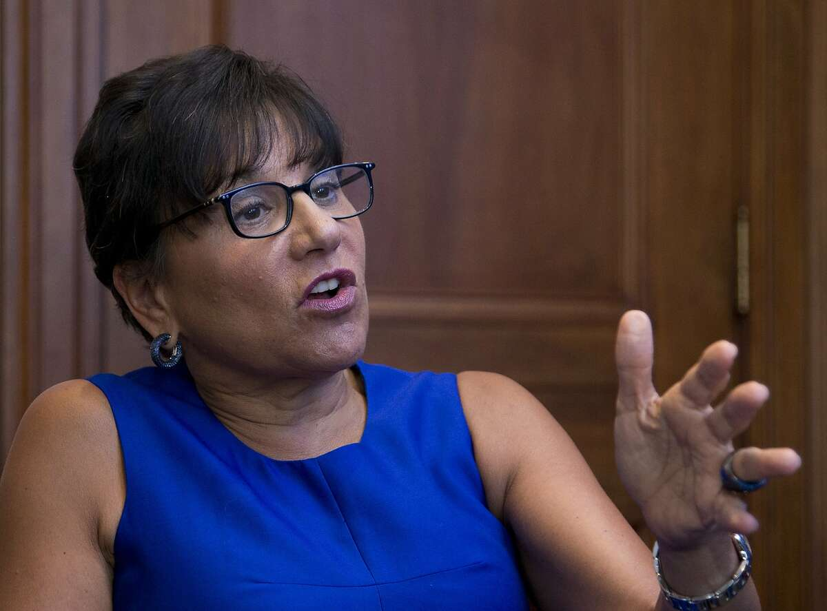 Commerce Secretary Penny Pritzker gestures during an interview with The Associated Press following the first U.S.-Ukraine Business Forum co-hosted by the U.S. Chamber of Commerce and the Commerce Department, Monday, July 13, 2015, in Washington. (AP Photo/Manuel Balce Ceneta)