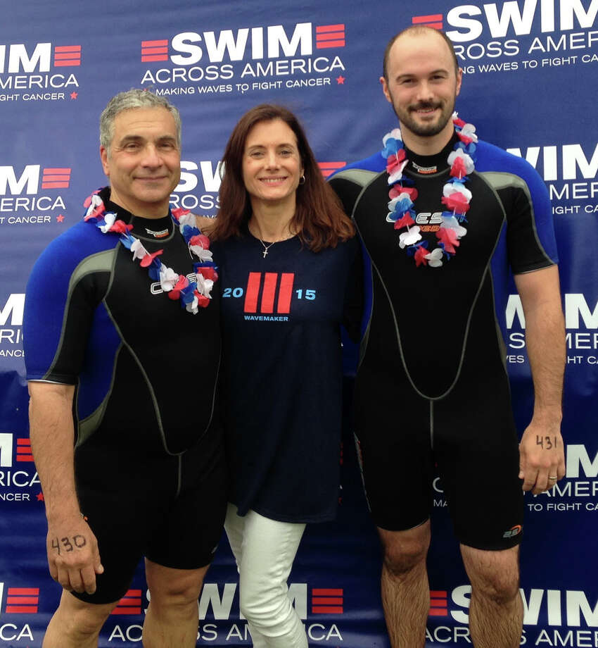 Fairfield's James Coppola, right, recently participated in his fourth Swim Across America challenge event, raising more than $1,000 for cancer research. Pictured with Coppola is P.J. Papale, left, and Patty Papale. Photo: Fairfield Citizen /Contributed / Fairfield Citizen