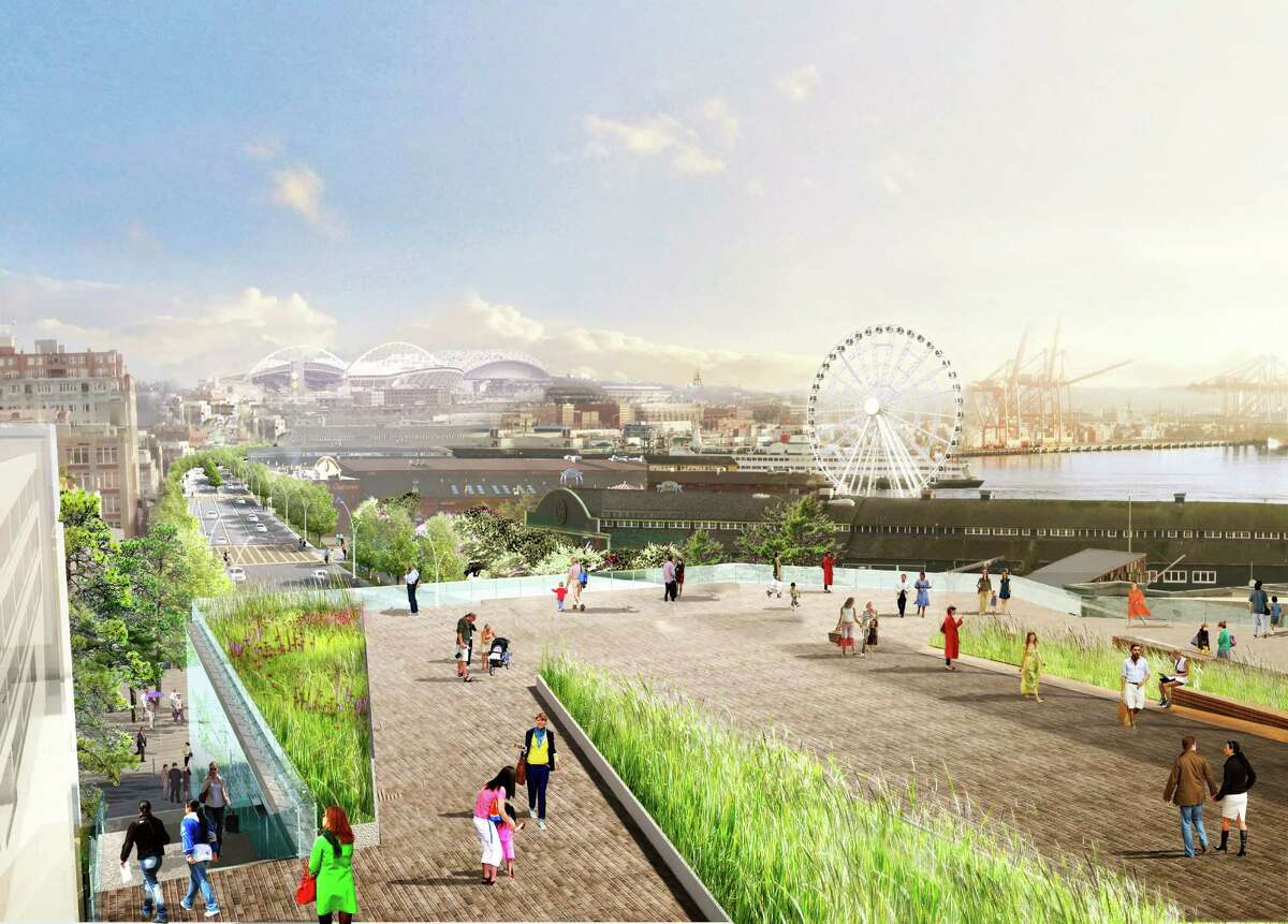 A rendering showing the city's current design for the waterfront, post-Alaskan Way Viaduct. The new design will be more promenade playground than the older design of a highway to skirt downtown traffic.