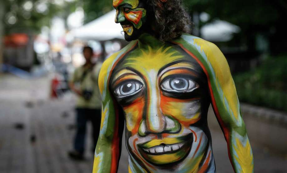 NEW YORK, USA - JULY 19:  A participant in body-paint attends the Bodypainting Day at Dag Hammarskjold Plaza in New York City on July 18, 2015. Photo: Anadolu Agency, Getty Images / 2015 Anadolu Agency