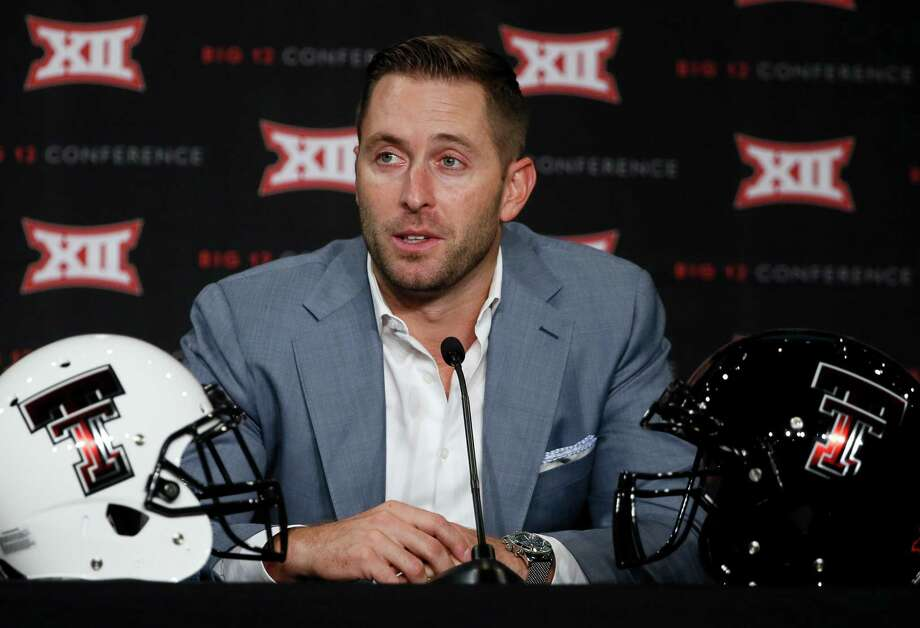 Texas Tech head football coach Kliff Kingsbury addresses attendees at the NCAA college Big 12 Conference Football Media Days on July 20, 2015, in Dallas. Photo: Tony Gutierrez /Associated Press / AP