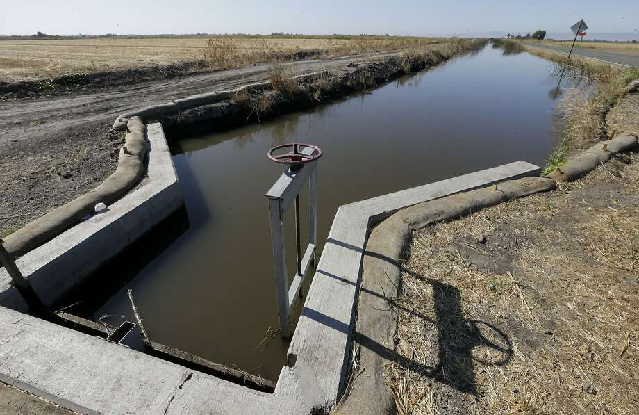 In this photo taken July 15, 2015, water flows down a canal near Byron, Calif. The California State Water Resources Control Board said it's proposing a fine of $1.5 million against the Byron-Bethany Irrigation District for allegedly taking water from a pumping plant after it was warned that there was not enough water. (AP Photo/Rich Pedroncelli) Photo: Rich Pedroncelli, Associated Press