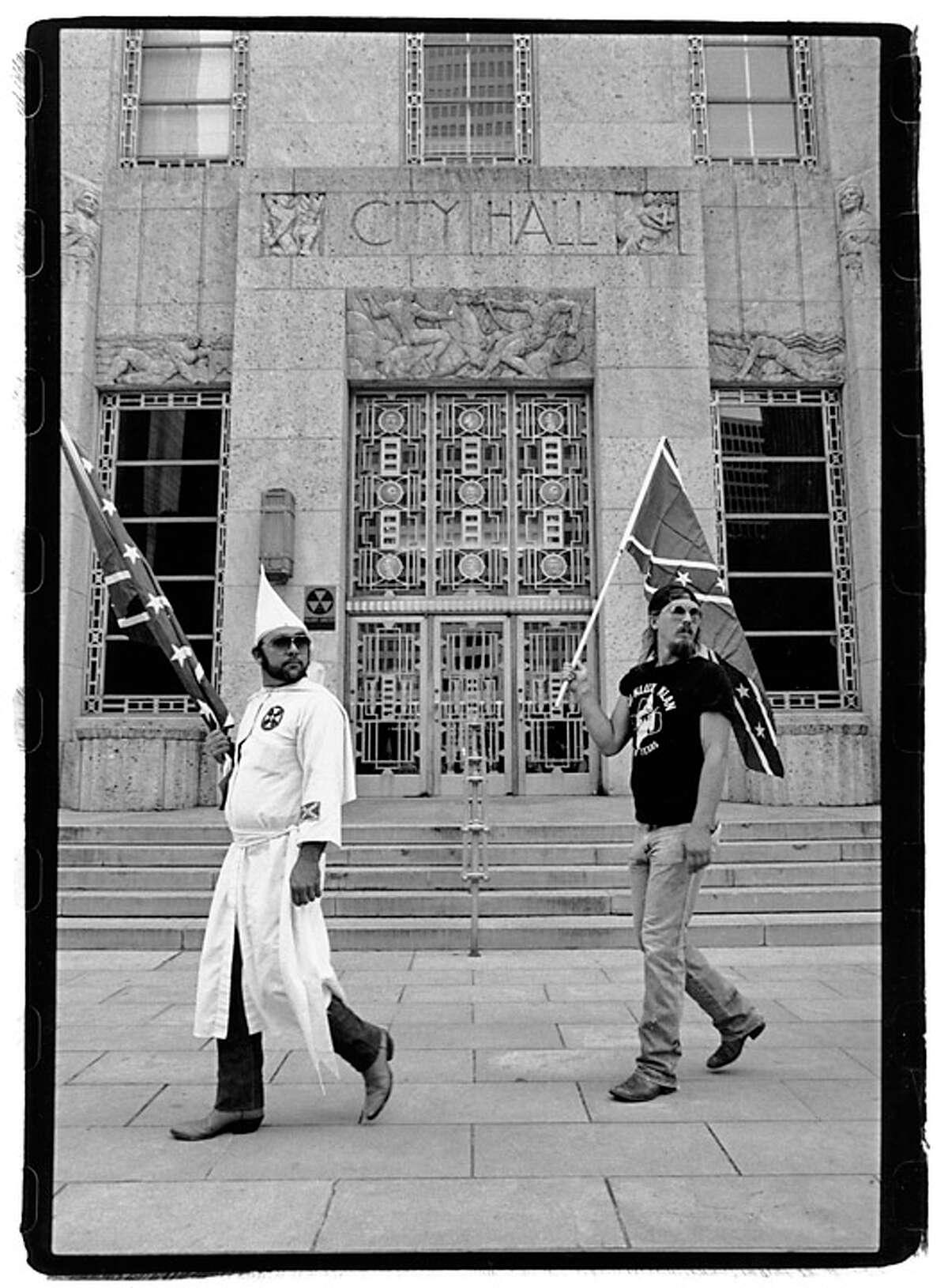 A KKK march at Houston City Hall.