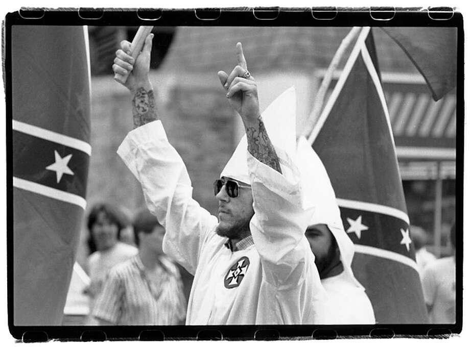 One of the Ku Klux Klan marches I photographed in the 1980s. (For more photos, scroll through the slideshow.) Photo: Mark Lacy