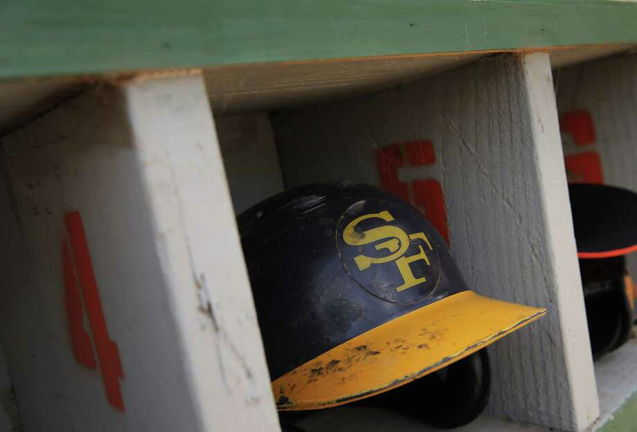 A San Francisco Hawks batting helmet during the baseball game between the Lodi Templars and the San Francisco Hawks at Lara Field in San Bruno, Calif., on Sunday, July 19, 2015. The Templars and Hawks are part of a Japanese-American amateur baseball league, which is in danger of folding after 100 years because players are getting older, or some teams have shut down because of lack of player interest. Photo: Carlos Avila Gonzalez / The Chronicle / ONLINE_YES