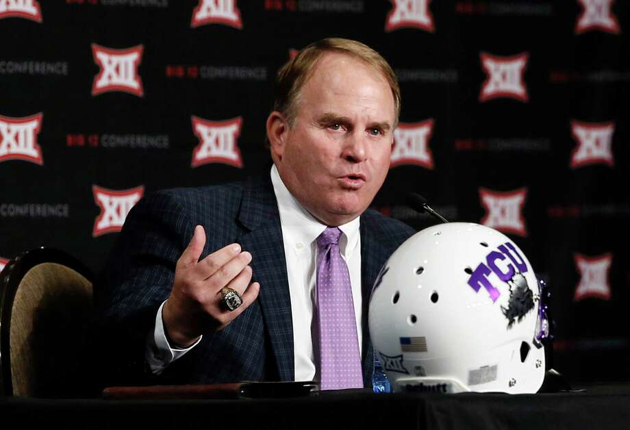 """TCU coach Gary Patterson expects a unit that is lacking experience in the back seven to be """"a good defense by the end of the year."""" Photo: Tony Gutierrez, STF / AP"""
