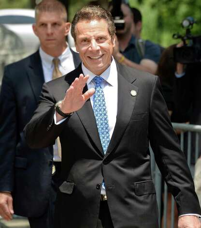Governor Andrew Cuomo arrives at a rally in support of  New York City firefighters and police officer at the Capitol Wednesday June 10, 2015 in Albany, NY.  (John Carl D'Annibale / Times Union) Photo: John Carl D'Annibale / 10032241A