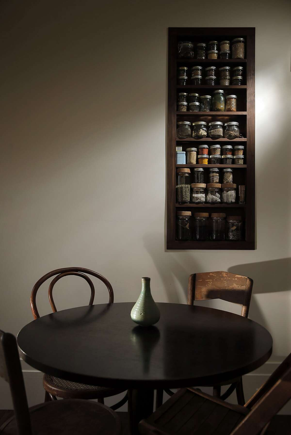 The breakfast nook and spice rack in Dona Savitsky's home which she recently remodeled in Oakland , Calif., on Monday, July 20, 2015.