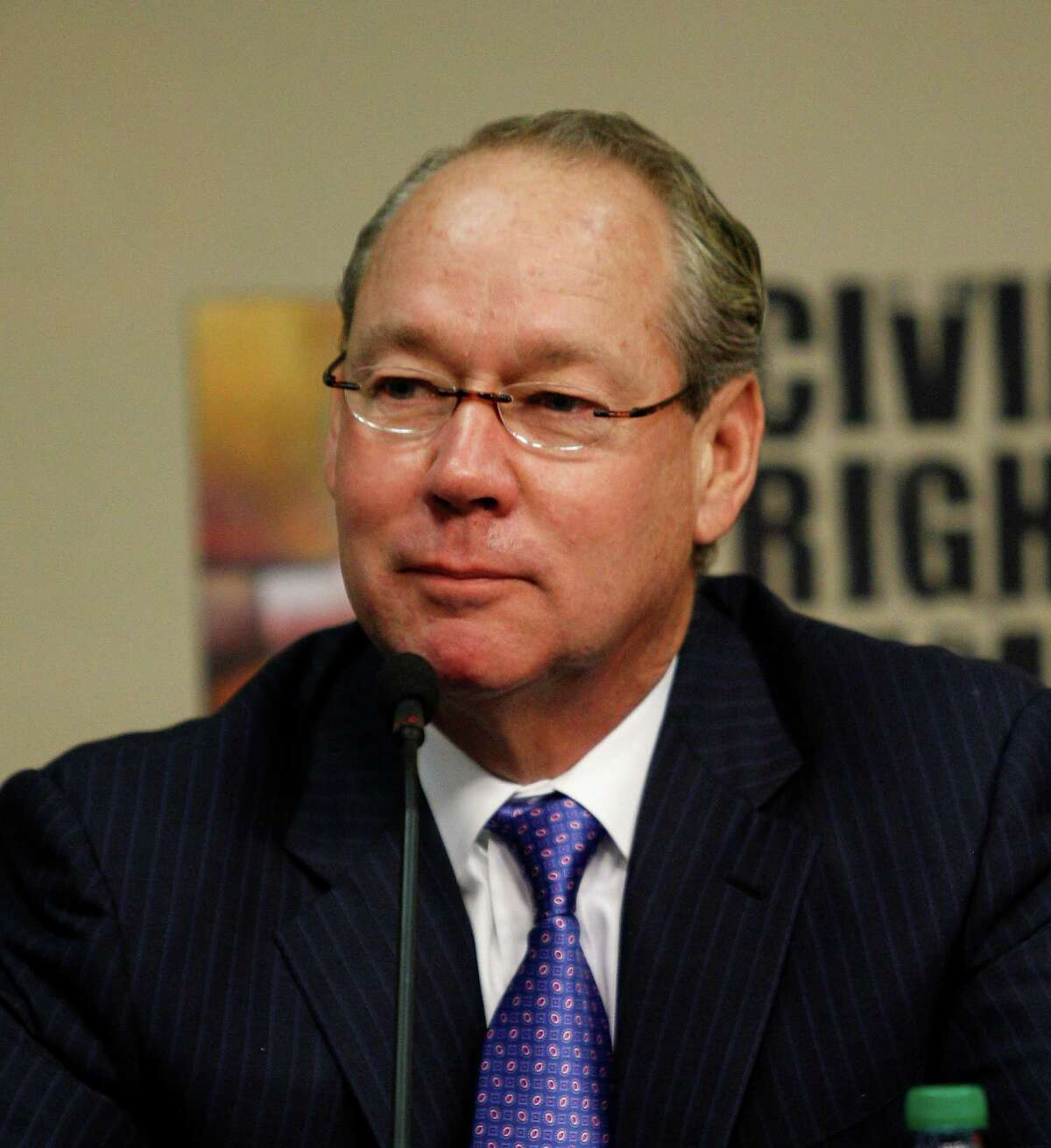 Houston Astros owner and chairman Jim Crane listens as it was announced that the Houston Astros will host the 2014 Civil Rights Game against the Baltimore Orioles May 30, 2014 during a press conference at Minute Maid Park, Tuesday, Nov.19, 2013 in Houston. (Bob Levey/For The Chronicle)