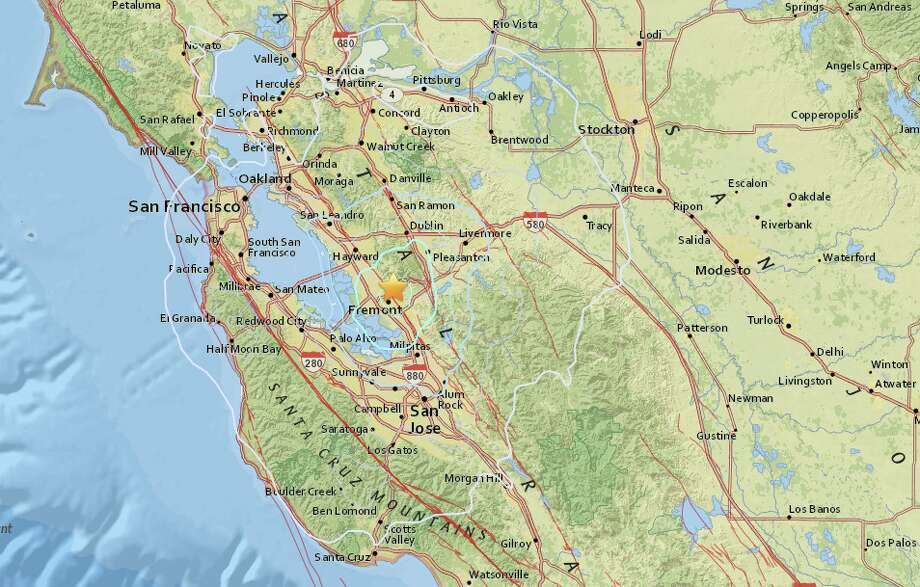 An earthquake with preliminary magnitude of 4.0 struck near Fremont on Tuesday morning. Photo: USGS