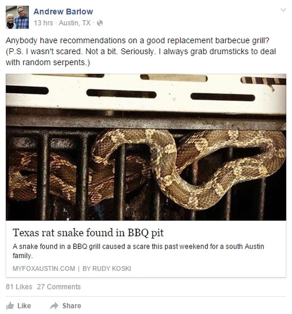 Austin man Andrew Barlow found this Texas rat snake in his barbecue pit on Sunday, July 19, 2015. He posted on Facebook: