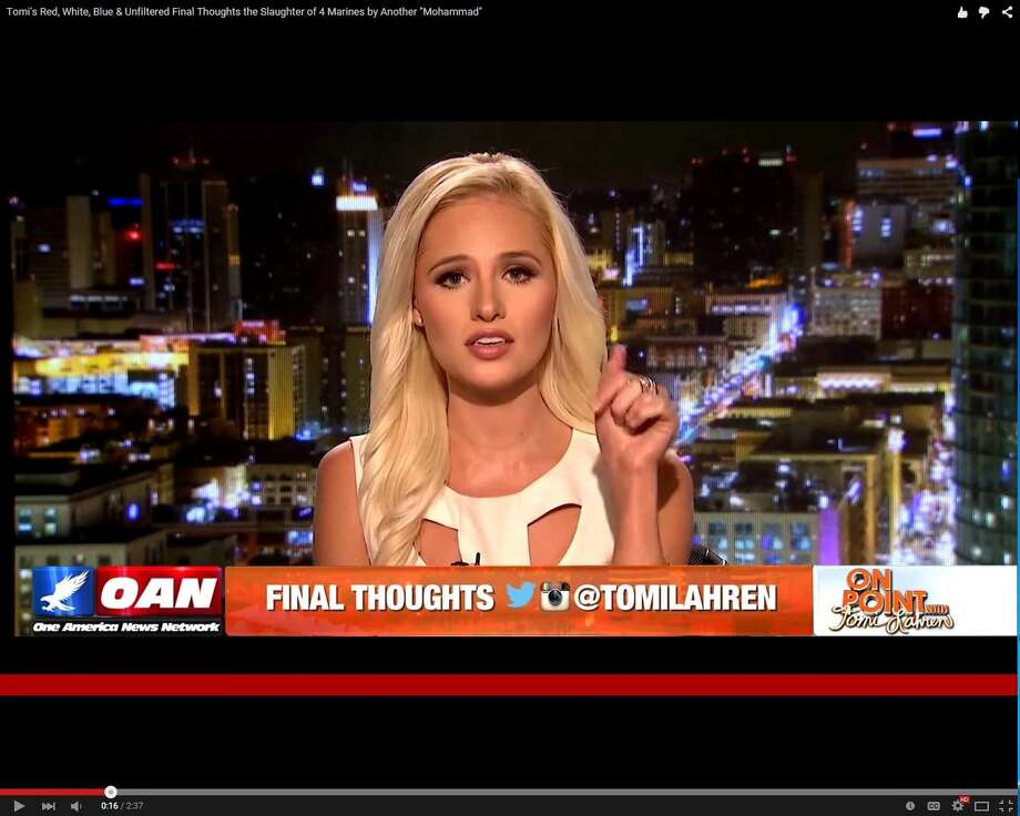 "Tomi Lahren started her broadcast career with One America's News NetworkShe was the host of her show, ""On Point with Tomi Lahren,"" where she aired a screed on the Chattanooga terrorist attack that killed four Marines and one sailor in 2015.  Photo: Medina,  Mariah, Courtesy Photo"