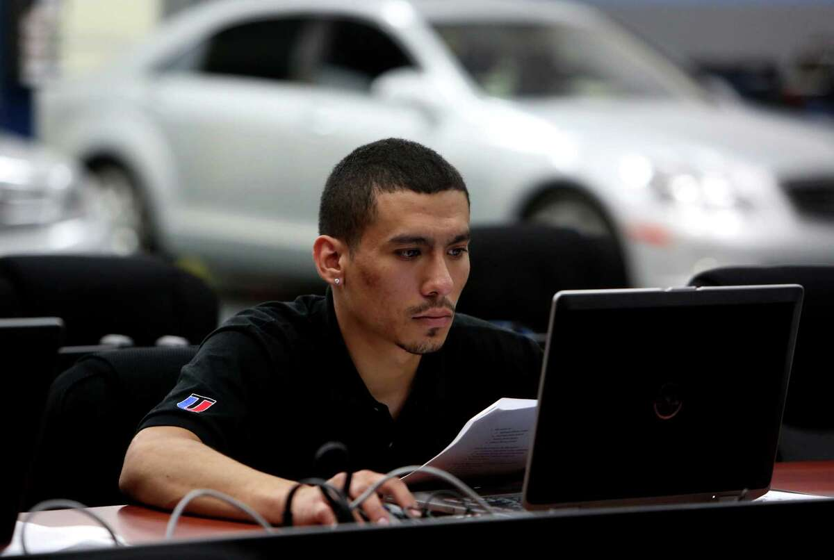 Dago Loya takes a Driving Dynamics final exam in the Mercedes Benz elite start program at the Universal Technical Institute (UTI), technician training school for the transportation industry, Wednesday, July 15, 2015, in Houston. ( Gary Coronado / Houston Chronicle )