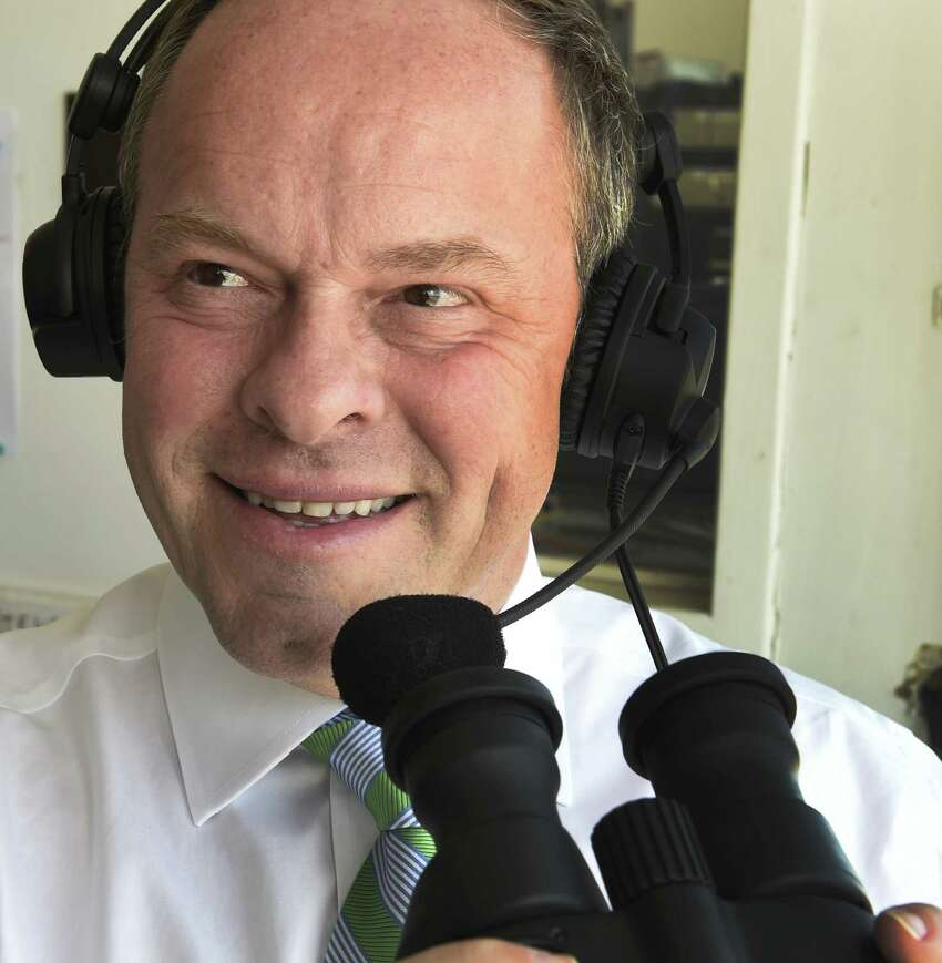 Track announcer for the NYRA Larry Collmus spoke to the Times Union Saturday April 4, 2015 at Aqueduct Race Track in Ozone Park, N.Y. (Skip Dickstein/Times Union) ORG XMIT: MER2015040418133453
