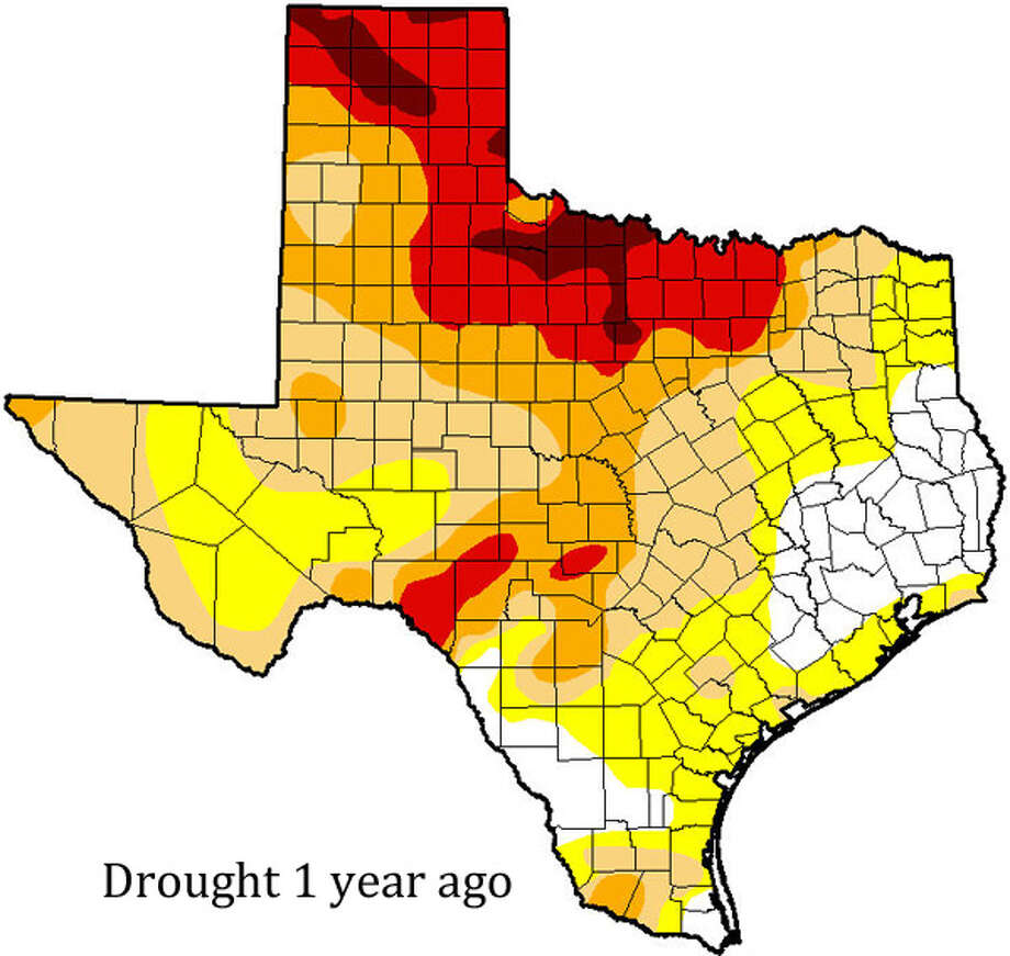 "U.S. Drought Monitor map of Texas drought conditions as of July 15, 2014.White areas reflect no drought presence, with darker colors reflecting worsening stages of drought from ""Abnormally Dry"" (yellow) to ""Exceptional Drought"" (brown). Photo: US Drought Monitor"
