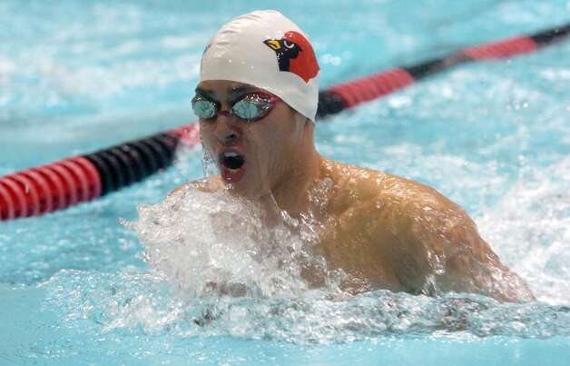 Greenwich High School boys swim team's Tony Martir swims the 100 breaststroke during the CIAC Boys Class LL Swimming Championships at Wesleyan University in Middletown, CT Wednesday afternoon, March 17, 2010. Martir was second in :59.50. Greenwich won with 664 points. Photo: Keelin Daly / Greenwich Time