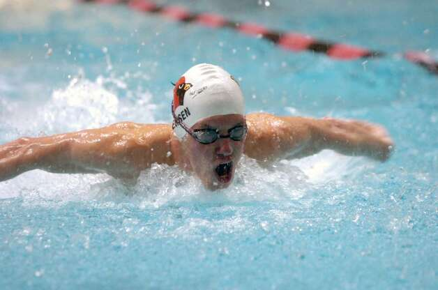 Greenwich's Alexander Jensen swims the 200 IM during the CIAC Boys Class LL Swimming Championships at Wesleyan University in Middletown, CT Wednesday afternoon, March 17, 2010. Greenwich won with 664 points. Jensen placed eighth. Photo: Keelin Daly / Greenwich Time