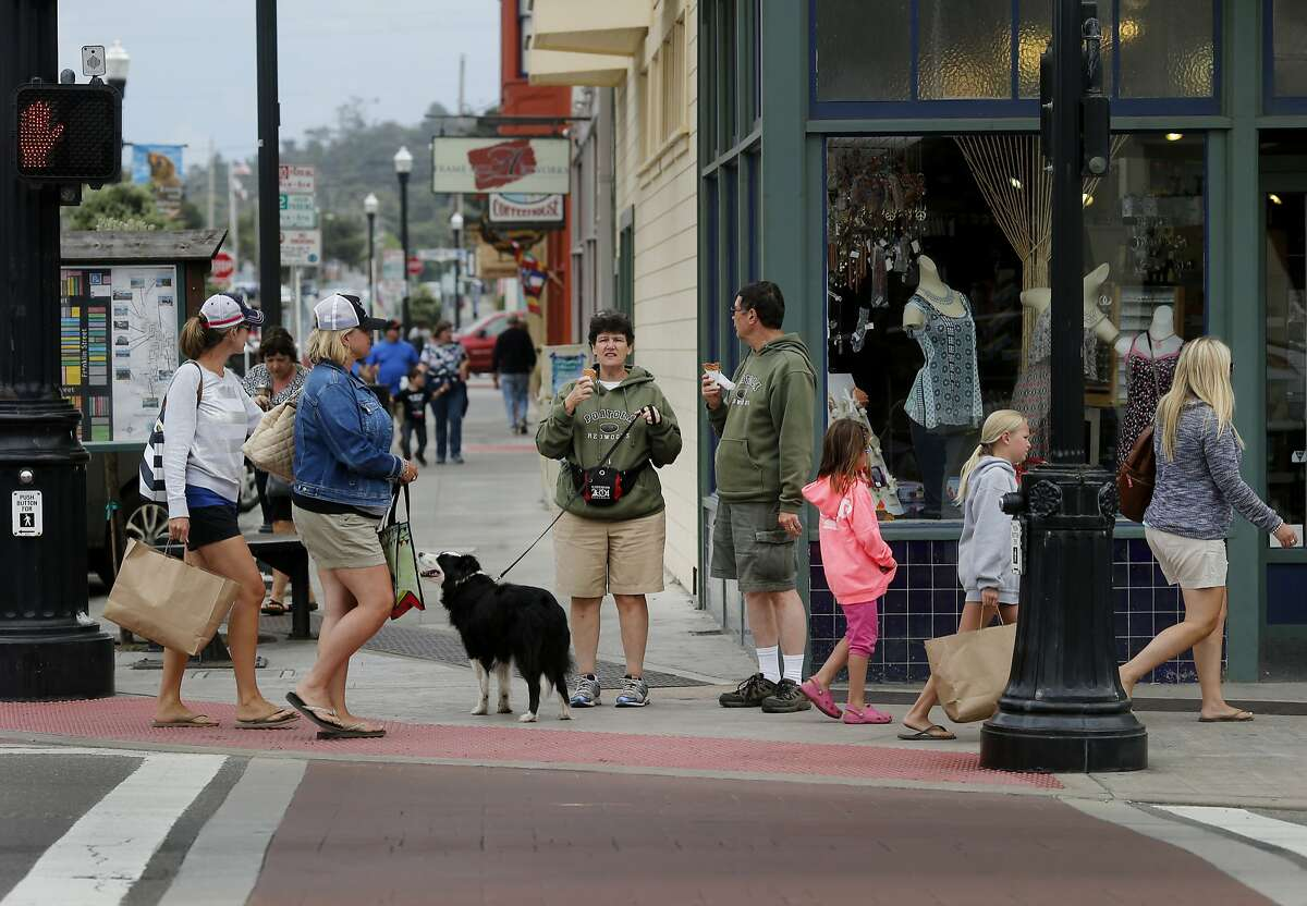 A view looking east down Laurel Street at Main in downtown Fort Bragg Monday July 20, 2015. There is little public support for a name change for Fort Bragg, California after various African American groups objected to the naming after a Confederate army general, Braxton Bragg.