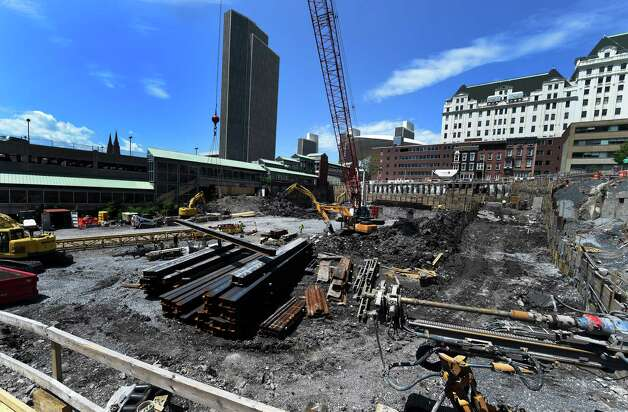 Steel is brought in to the site of the new convention center which is under construction Tuesday July 21, 2015 in Albany, N.Y.     (Skip Dickstein/Times Union) Photo: SKIP DICKSTEIN / 00032698A
