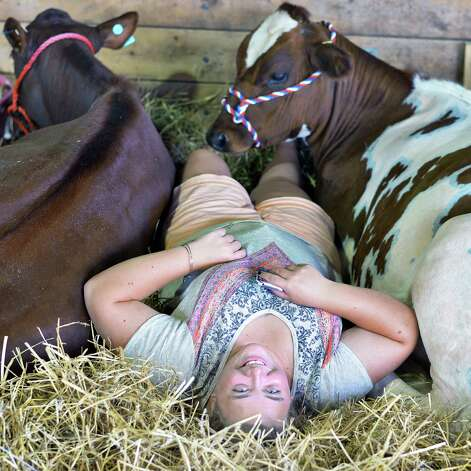 Margaret Brownell of Greenwich with her cows as the Saratoga County Fair begins Tuesday July 21, 2015 in Ballston Spa, NY.  (John Carl D'Annibale / Times Union) Photo: John Carl D'Annibale / 00032674A