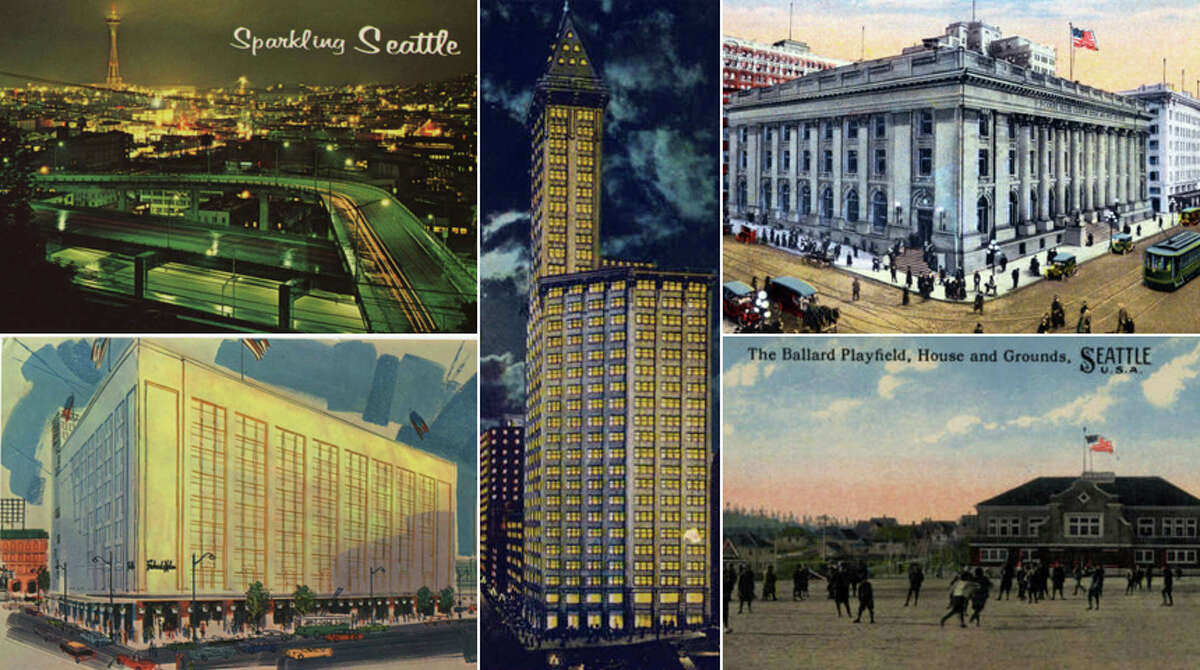 Click through for a look at Seattle's past, as preserved by Seattle Public Library's postcard collection.