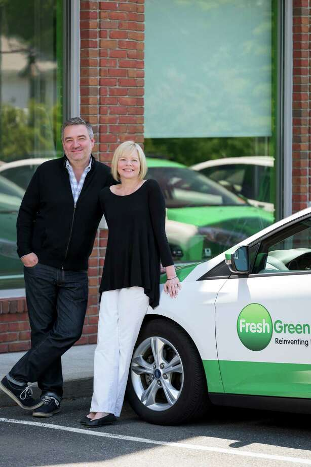 Weston couple Steve Mochel and Laura Shuler, founders of Fresh Green Light driving schools, with locations in Greenwich, Darien, Wilton, Westport, and now, Fairfield. Photo: Contributed / Contributed Photo / Connecticut Post Contributed
